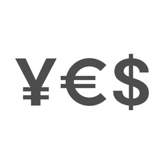 Word YES of currency symbols - yen, euro, dollar. Vector illustration