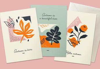 Autumn Greeting Card Layout Set