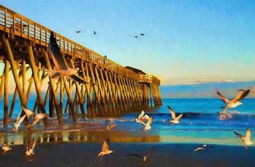 Sunset at Myrtle Beach State Park Pier Digital Art