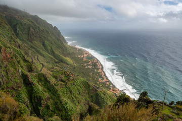 Aerial view of Paul do Mar from Faja da Ovelha in Madeira