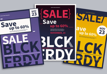 Black Friday Sale Flyer Layout Set