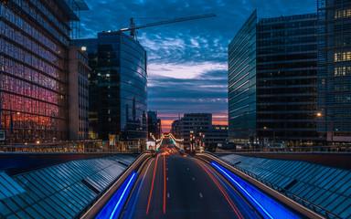 Keuken foto achterwand Brussel Night fall over the European Union institutions