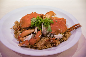 Close up shot of delicious fry crab rice