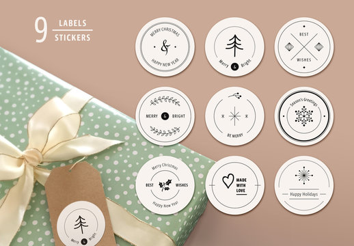 Christmas Labels Layout Set