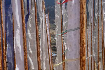 Funeral prayer flags, Ura Valley, Bhutan