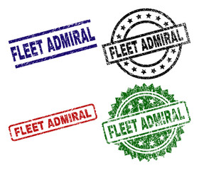 FLEET ADMIRAL seal stamps with corroded surface. Black, green,red,blue vector rubber prints of FLEET ADMIRAL tag with grunge surface. Rubber seals with circle, rectangle, medal shapes.
