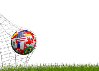 soccer ball with flags of America Canada and Mexico 3d-illustration