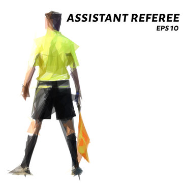 Assistant referee of the triangles. The assistant referee low poly. Vector illustration.