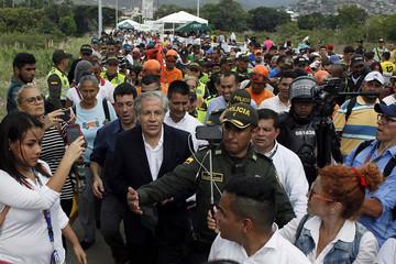 OAS Secretary General Almagro visits the Colombia-Venezuela border at the Simon Bolivar international bridge in Cucuta