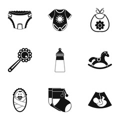 Child icons set. Simple illustration of 9 child vector icons for web