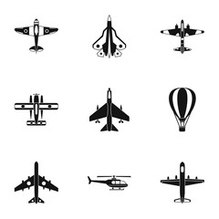 Aircraft icons set. Simple illustration of 9 aircraft vector icons for web