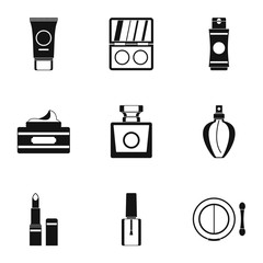 Makeup icons set. Simple illustration of 9 makeup vector icons for web
