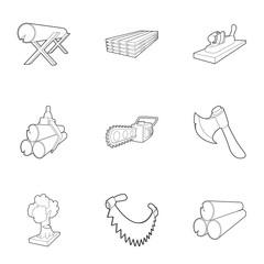 Deforestation icons set. Outline illustration of 9 deforestation vector icons for web