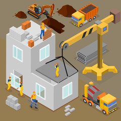 Modern Construction Isometric Composition
