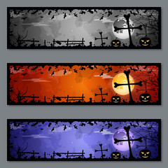 Halloween colorful banners vector templates collection