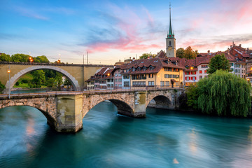 Wall Mural - Historical Old Town of Bern city on dramatic sunset, Switzerland