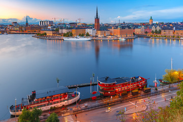 Scenic summer aerial view of Riddarholmen, Gamla Stan, in the Old Town in Stockholm at sunset, capital of Sweden
