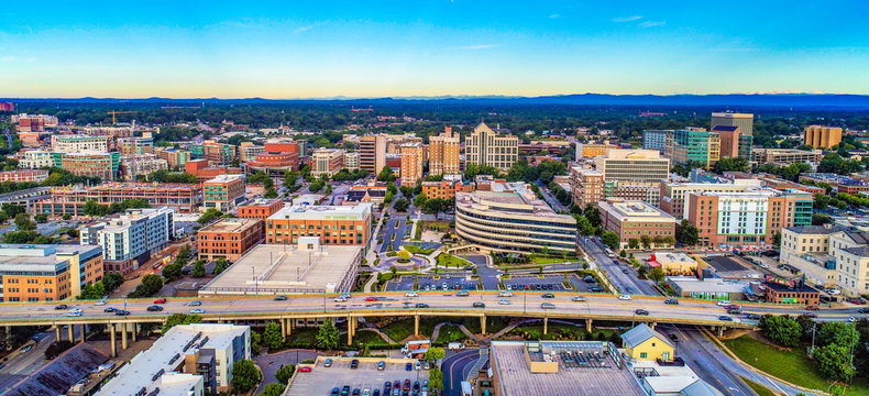 Aerial of Downtown Greenville SC South Carolina Skyline