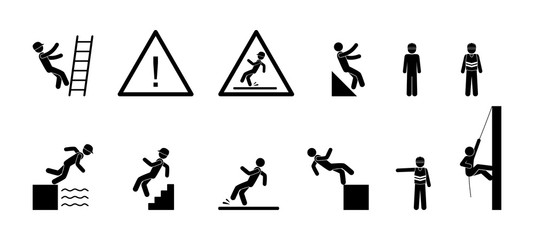 icon man drops, industrial safety symbols, stick figure people, pictogram warning sign