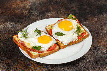Sandwich with cheese, bacon, tomato and fried egg on plate