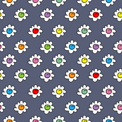 dark textile blue colored stylish seamless vector background with camomile flowers, small cute flowers