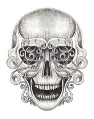 Art Vintage mix Skull Tattoo. Hand pencil drawing on paper.