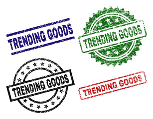 TRENDING GOODS seal prints with damaged texture. Black, green,red,blue vector rubber prints of TRENDING GOODS tag with grunge texture. Rubber seals with round, rectangle, medallion shapes.