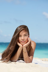 Beauty portrait of mixed race woman on beach