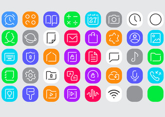 mobile application icon set
