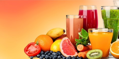 Fresh ripe healthy fruits and juices in