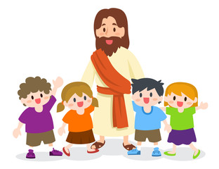 Jesus Christ with Group of children