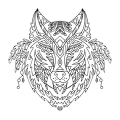 Wild beautiful wolf head hand draw on a white background. Color book. Fashion boho american steam punk style in a vector illustration