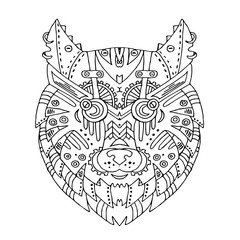 Wild beautiful wolf head hand draw on a white background. Color book. Fashion steam punk style in a vector illustration