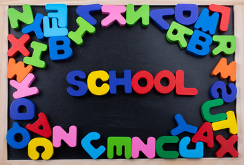 Shool wording and Colorful Letters made of wood
