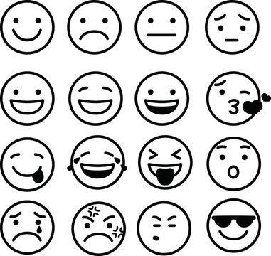 Line drawing of emoticon icon set