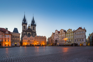 Old town square at night in Prague city, Czech Republic