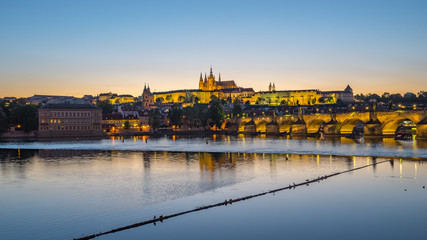 Panorama view of Prague skyline in Czech Republic at night