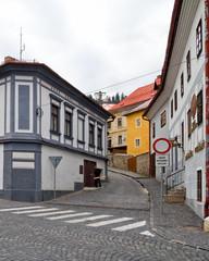 Cobblestone streets in Banska Stiavnice, Slovakia