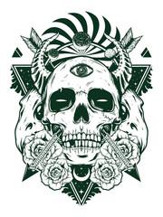 devil skull for shirt design in black white concept