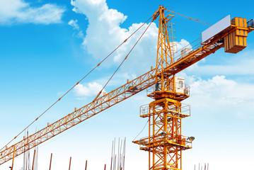 Construction site crane close-up
