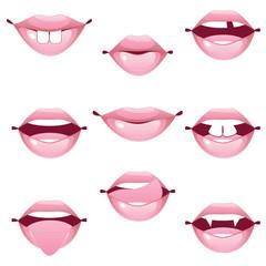Female lip gestures set
