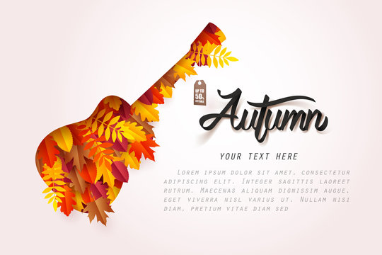 Autumn music festival, Paper art of guitar and leaves