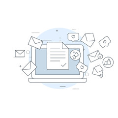 Email marketing icon - laptop and flying envelopes, mailing, e-mail delivery concept