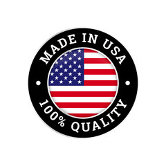 Made in USA 100 percent American quality flag icon