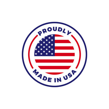 Made in USA American flag round vector icon