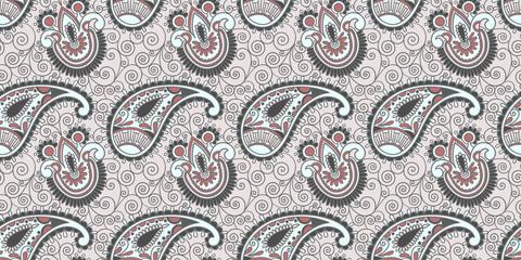 flower seamless pattern, paisley indian design