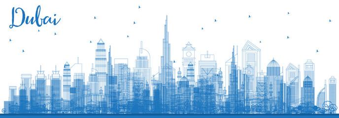 Outline Dubai UAE Skyline with Blue Buildings.