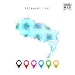 Dots Pattern Vector Map of Becharof Lake, Alaska. Stylized Simple Silhouette of Becharof Lake. Set of Multicolored Map Markers. Illustration Isolated on White Background.