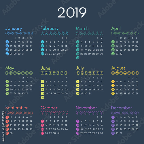 simple calendar 2019, starts sunday