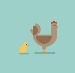 chicken in flat style